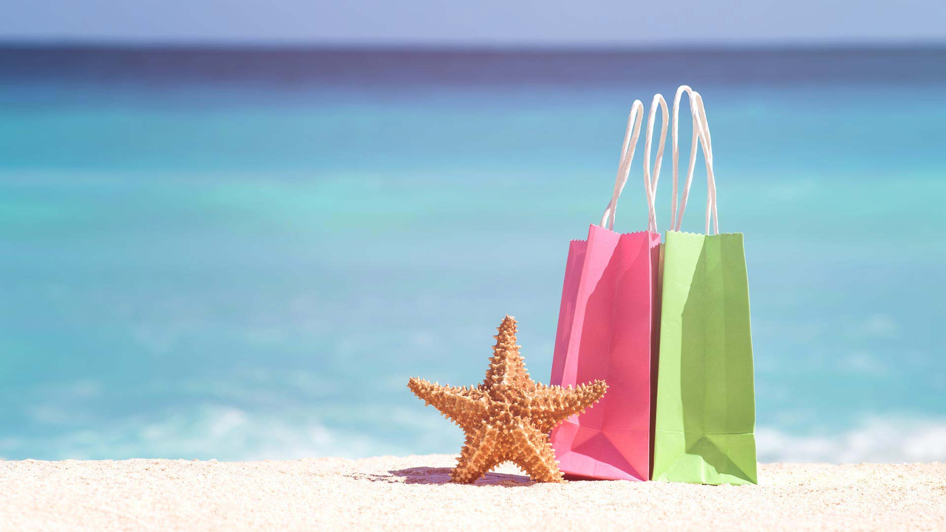 gift bags on a beach