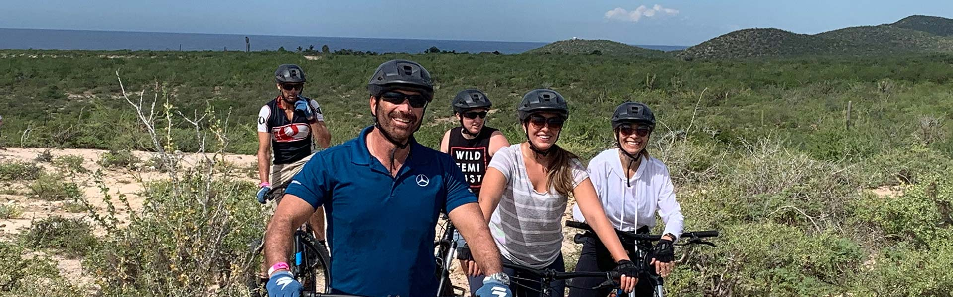group biking in nature