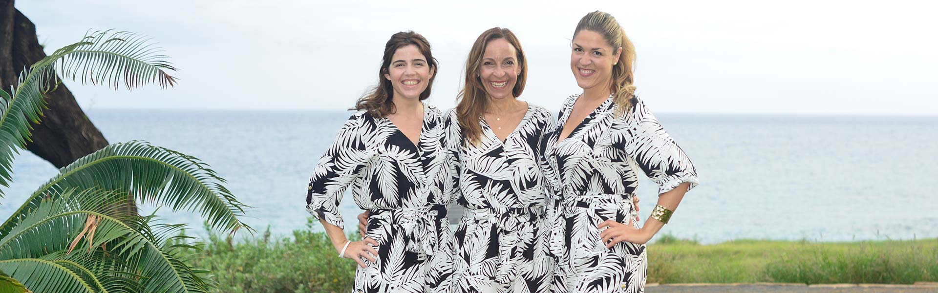 three ladies with plam threes